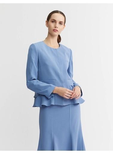 BGN Volan Detaylı Blazer Ceket Mavi